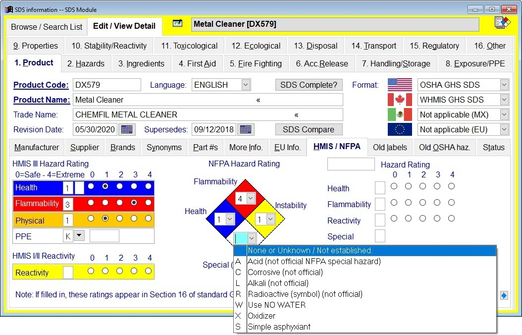MSDS management and authoring software screen